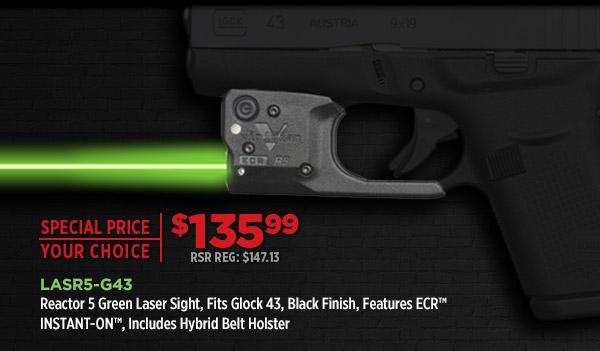 Reactor 5 Green Laser Sight, Fits Glock 43, Black Finish, Includes ECR Hybrid Belt Holster